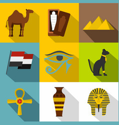 ancient egypt icon set flat style vector image