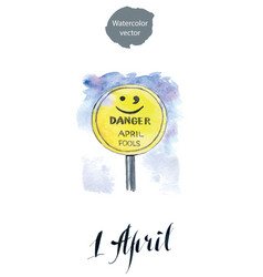 april fools road sign hand drawn watercolor vector image