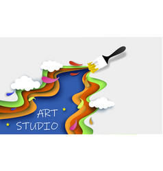 Art studio concept layered paper cut style vector
