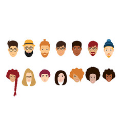 beautiful people avatars collection vector image