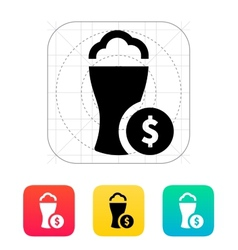Beer glass with dollar icon vector