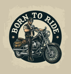 Biker riding a motorcycle engraved vector