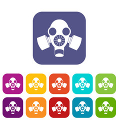 Black gas mask icons set vector
