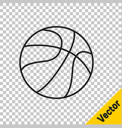 black line basketball ball icon isolated on vector image