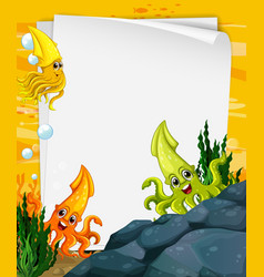 Blank paper template with many squids cartoon vector