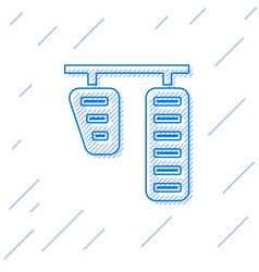 Blue line car gas and brake pedals icon isolated vector