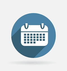 Calendar Circle blue icon with shadow vector