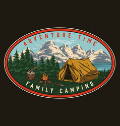 Camping vintage colorful label vector