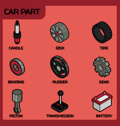 car part color outline isometric icons vector image