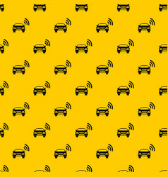 Car with wifi sign pattern vector