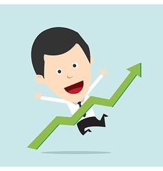 Cartoon Businessman positive graph vector