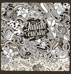 Cartoon hand-drawn doodles italian food vector