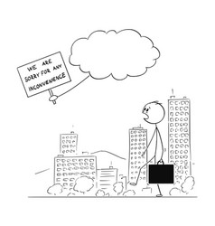 cartoon of man walking on street and watching vector image