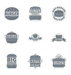 Cheeseburger logo set simple style vector