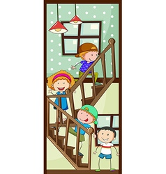 Children and stairs vector