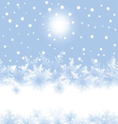 christmas snowflakes and sun on blue background vector image