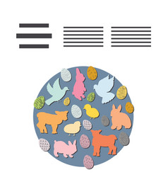 circle shape with easter animals and text frame vector image