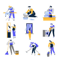 cleaning service and household isolated icons vector image