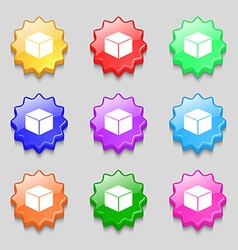 Cube icon sign symbol on nine wavy colourful vector