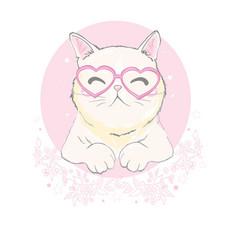 cute cat designchildren for school books and vector image