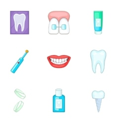 Dentist equipment icons set cartoon style vector