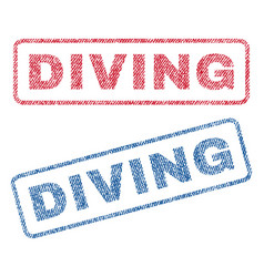 Diving textile stamps vector