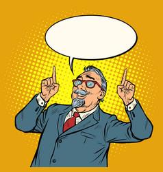 elderly businessman smile index finger up gesture vector image