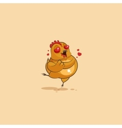 Emoji character cartoon Hen in love flying with vector image