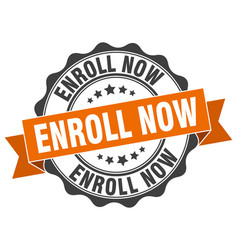 Enroll now stamp sign seal vector