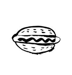 Fast food meal grunge icon hotdog ink vector