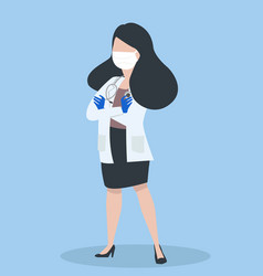 Female doctor poses on blue background vector