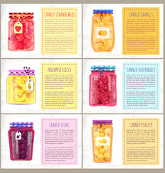 Fruit citrus and berry conserve jars with labels vector