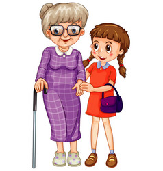 Grandmother and little girl on white background vector