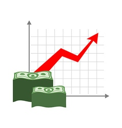 Graph growth money Red up arrow Increase in cash vector image