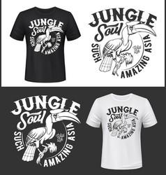 great hornbill bird t-shirt print mockups vector image