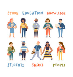 group cute multicultural students cartoon vector image