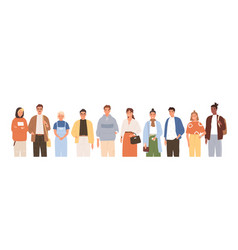Group friendly diverse people standing together vector