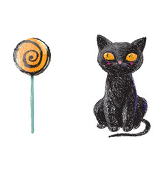 Hand drawn cute black witch cat and halloween vector