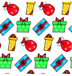 hand drawn present seamless pattern vector image