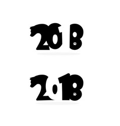 happy new year 2018 text design with head and vector image