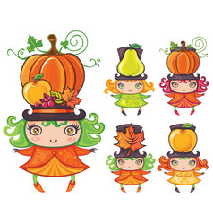Harvest girls vector