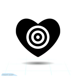 heart black icon love symbol the target in vector image