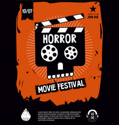 horror movie festival cinema vintage poster with vector image