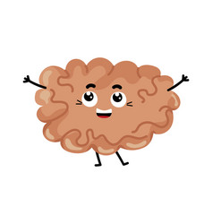 Human brain cute cartoon character vector
