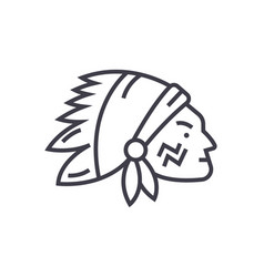 Indian head line icon sign vector
