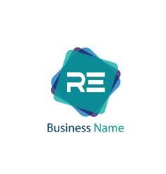 Initial letter re logo template design vector