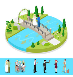 isometric city park composition with couple vector image