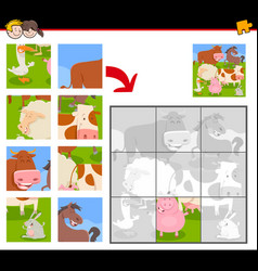 jigsaw puzzles with happy farm animals vector image