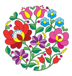 Kalocsai embroidery - Hungarian round floral folk vector