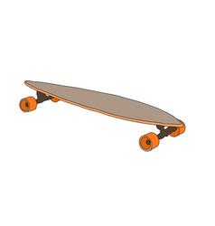 longboard with orange wheels vector image